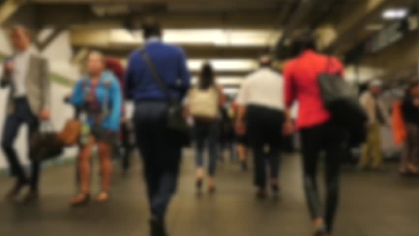 SLOW MOTION: Defocused commuters walking in the subway. The NYC Subway is one of the oldest and most extensive public transportation systems in the world, with 468 stations.  | Shutterstock HD Video #19193791