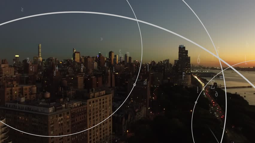 City business district concept background. animated data flow numbers streaming idea. global networking visualization. crowdsourcing investment strategy    | Shutterstock HD Video #19196530