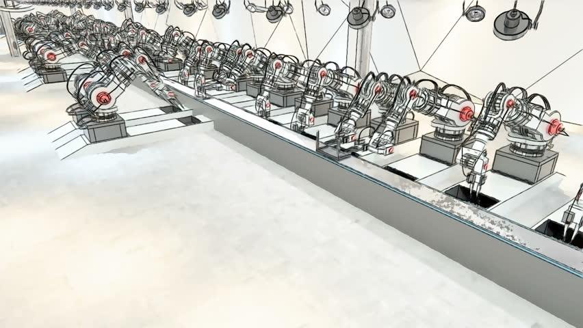 Robotic Arm Assembling 3d Printer On Conveyor Belt | Shutterstock HD Video #19196950