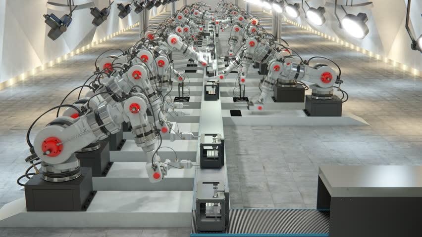 Robotic Arm Assembling 3d Printer On Conveyor Belt | Shutterstock HD Video #19196977