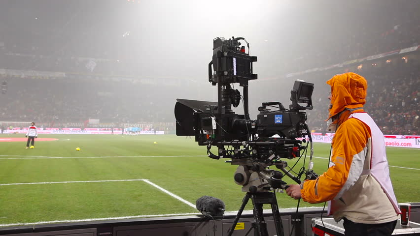 MILAN - JANUARY 15: Video camera for 3D sports and news broadcasting, Italian Serie A league football match AC Milan vs FC Internazionale at the San Siro Stadium in Milan on January 15, 2012. Sequence