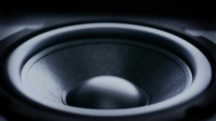 Closeup at moving sub-woofer. Speaker part. HD 1080 video #1926304