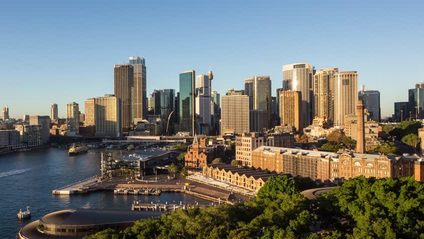 Aerial Timelapse of Sunrise over Sydney CBD in 4k, medium shot