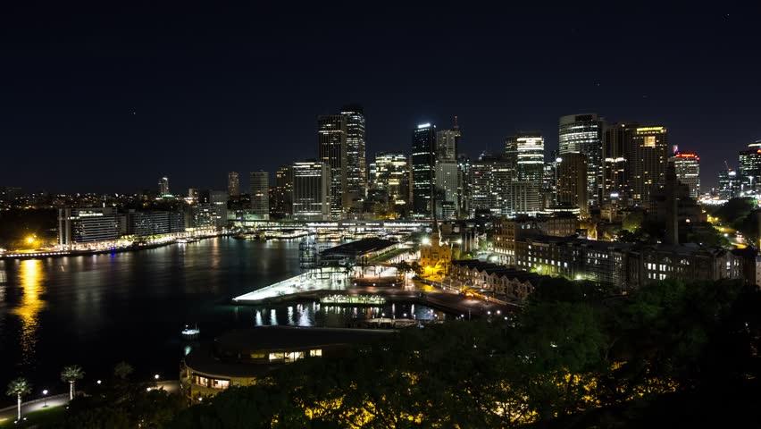 Aerial Timelapse of Sunrise over Sydney CBD in 4k, wide shot