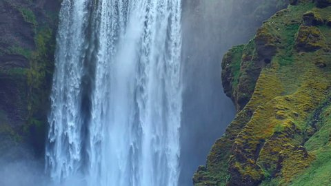 Great waterfall Skogafoss in south of Iceland near the town of Skogar