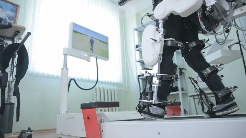 Medical walking robot. Rehabilitation, rehab, remediation for people with feet disease. | Shutterstock HD Video #19304152