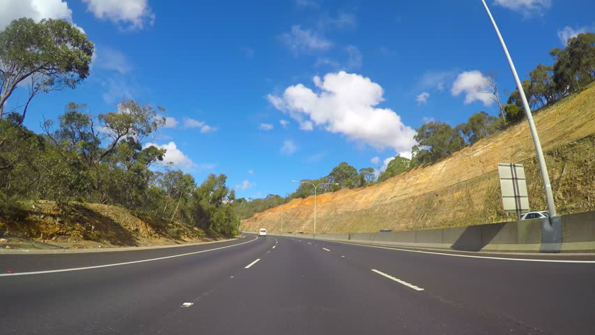 4K vehicle POV driving along freeway, from Adelaide to Adelaide Hills turnoff, real time.