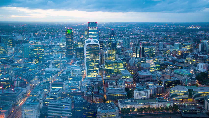 Night London downtown aerial time lapse. | Shutterstock HD Video #19349779