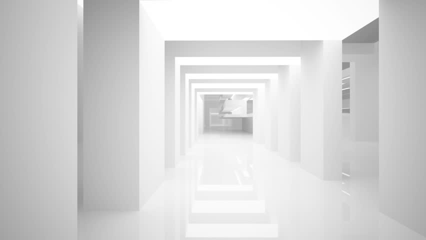 Abstract white interior. Night view. 3D animation. and rendering. Part 2