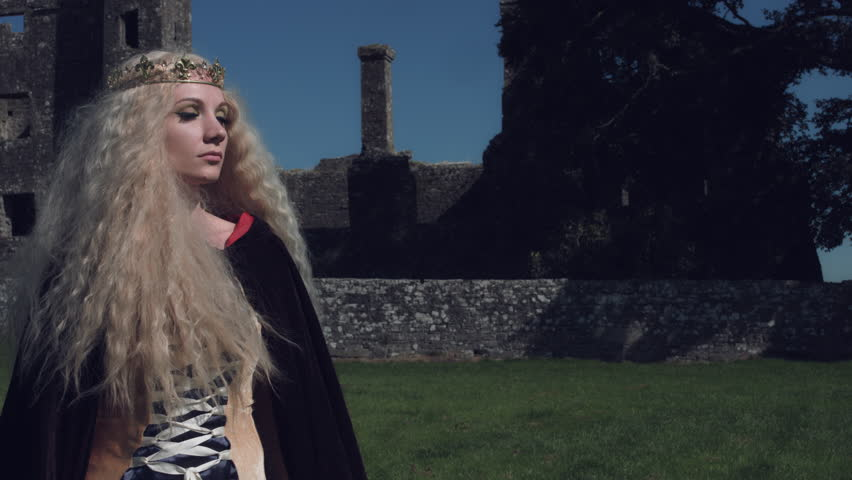 4k Medieval Shot of Queen Posing, Castle in Background | Shutterstock HD Video #19387918