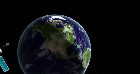 An animation of a zoom-in from space into USA/ North America from a distant view in outer space. While zooming into the earth clouds we see starsb and a passing satellite.  4K