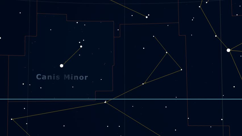 Constellation of Canis Minor. Bright stars (up to 6.5M) - vector shapes. Constellation figures and boundaries. Equator, ecliptic and galactic equator reference lines | Shutterstock HD Video #19406995