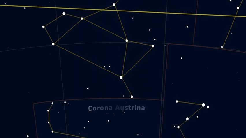 Constellation of Corona Austrina. Bright stars (up to 6.5M) - vector shapes. Constellation figures and boundaries. Equator, ecliptic and galactic equator reference lines #19407484