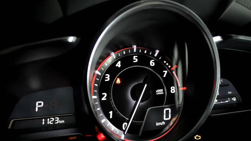 Tachometer with glowing needle indicate engine revolutions and current speed inside the car video footage | Shutterstock HD Video #19431067