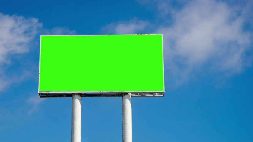 Time lapse of huge sky crapper billboard with blank green chromatic key and blue sky | Shutterstock HD Video #19435171