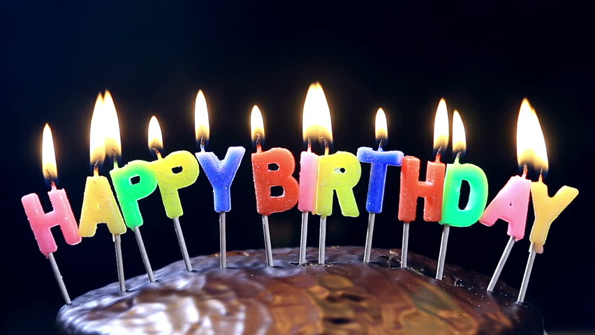 Superb Lighted Candles On A Happy Birthday Cake Candles With The Words Personalised Birthday Cards Veneteletsinfo