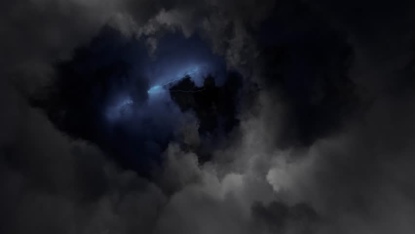 Flying through stormy clouds lit with lightning bolt flash, looped
