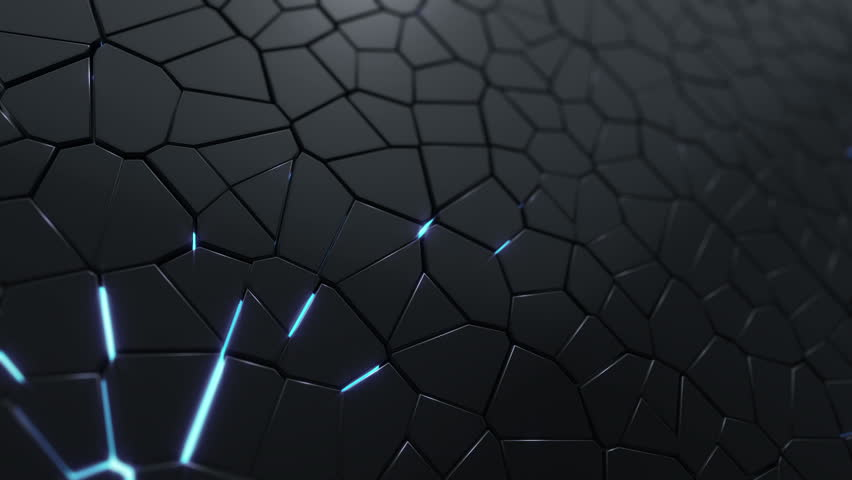 Abstract background with animation moving of dark triangles with glowing light from backdrop. Technologic backdrop with plastic surface. Animation of seamless loop.   Shutterstock HD Video #19444777