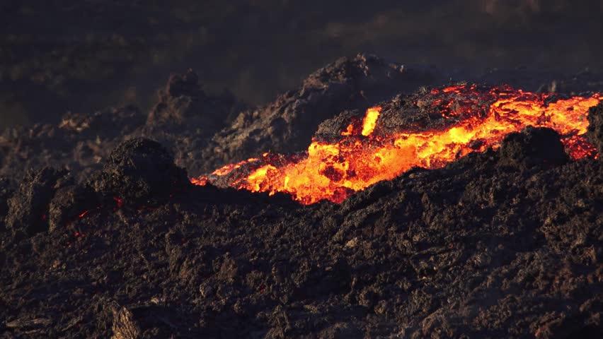 Lava river eruption reunion island | Shutterstock HD Video #19460503