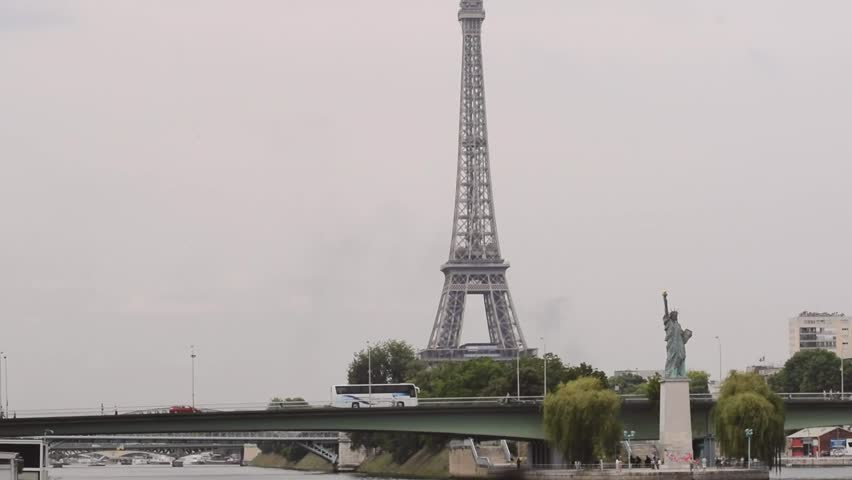 Paris Statue of Liberty and Eiffel Tower. | Shutterstock HD Video #19466986