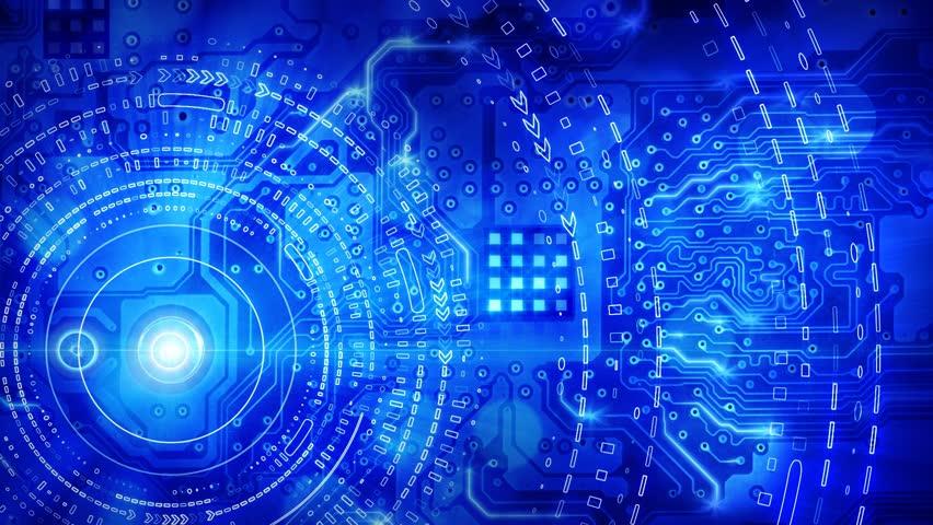 Blue computer circuit board background loop