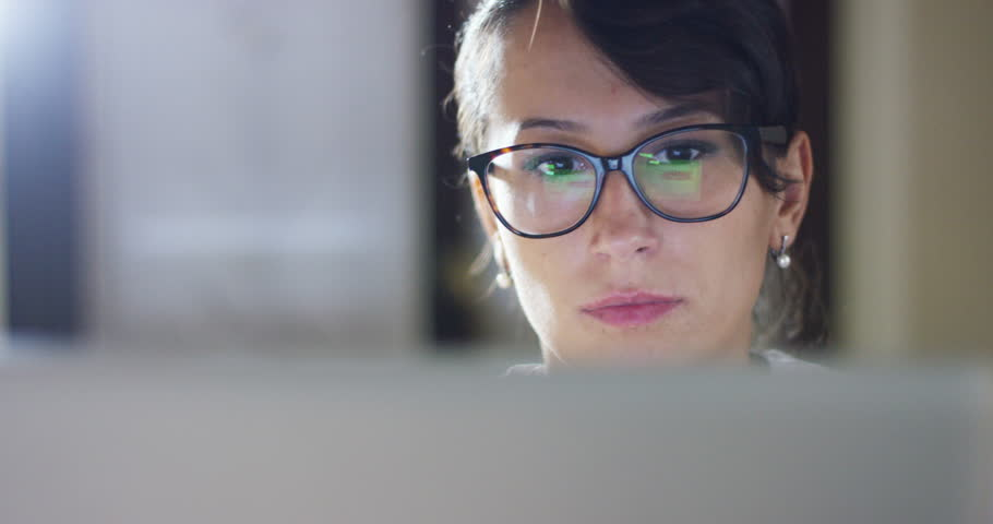 girl finishes his research of computer study. concept of perseverance, work from home , smart technology and connection to the web world | Shutterstock HD Video #19526191