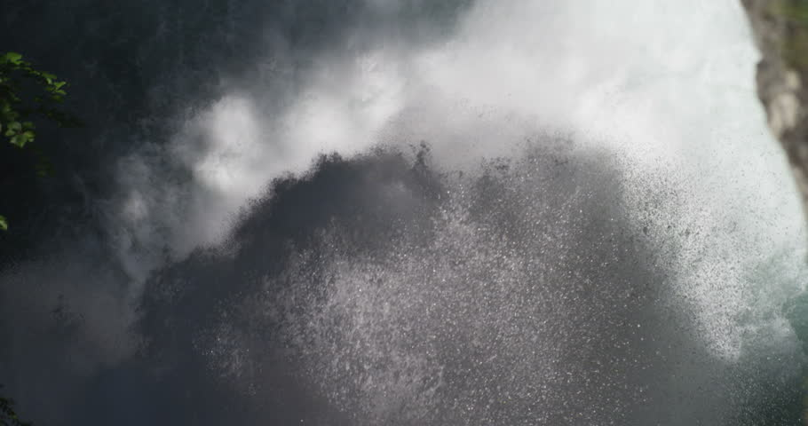 Aerial view of a very powerful waterfall of pure , fresh water in the high mountains where there is water purity . concept of nature's power , water purity at high altitude | Shutterstock HD Video #19526398