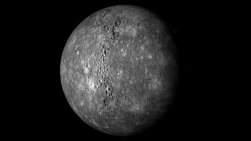 Mercury Rotating, The Mercury Spinning, Full Rotation, Seamless Loop - Realistic Planet Turning 360 Degrees on Solid Black Background   Shutterstock HD Video #19562038