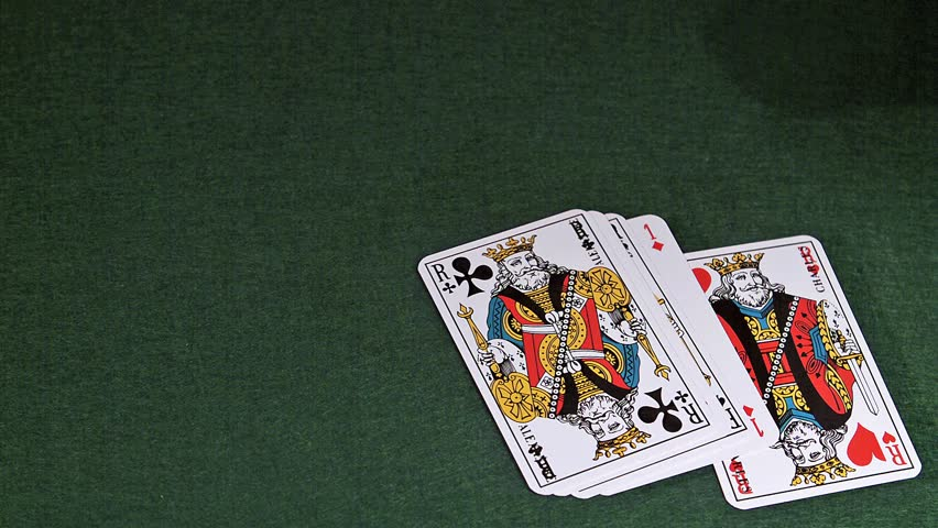 Playing Cards, Two Aces and Three Kings falling on Green Baize, Slow Motion | Shutterstock HD Video #19592320