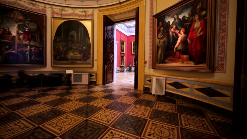 SAINT PETERSBURG, RUSSIA - FEBRUARY 12, 2016: Amazing halls with pictures and huge vases in Hermitage, one of the largest museums in the world, founded in 1764 by Catherine the Great