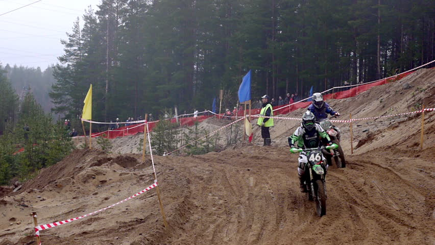 PETROZAVODSK, RUSSIA -May, 07: Motorcross extreme sport competition - Karelia Governor's championship May 07, 2011, Petrozavodsk, Russia. Extreme bike riders in action