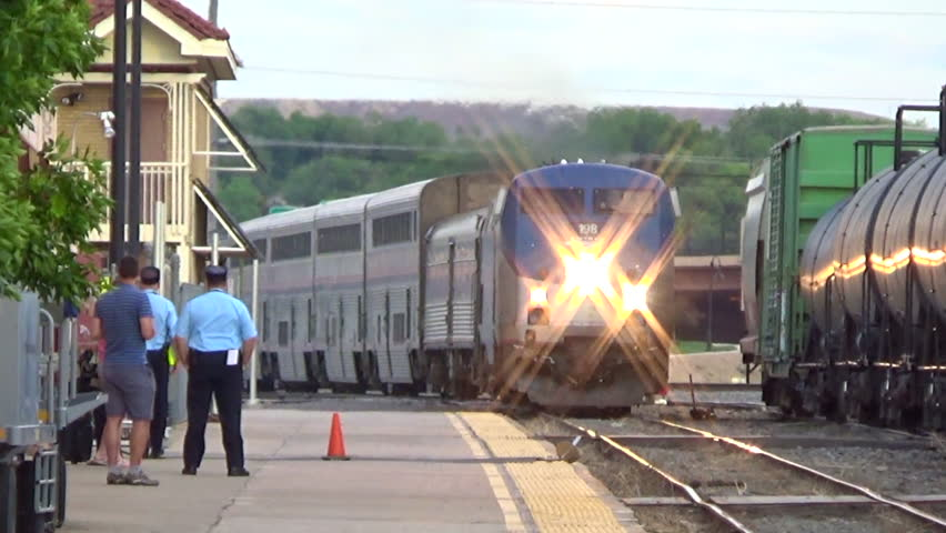 GRAND JUNCTION, USA - MAY 28, 2016: The Amtrak passenger train California Zephyr arriving at the station.