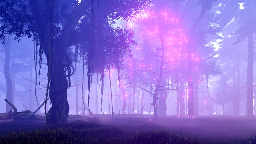 Dreamlike woodland scene with ghost dead tree surrounded by magical firefly lights in a spooky misty night forest. Realistic 3D animation rendered in 4K, ultra high definition. Royalty-Free Stock Footage #19644709