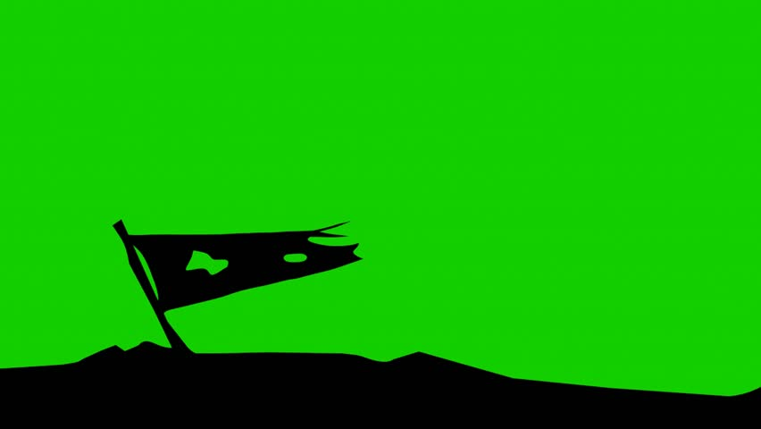 Lower 3rd graphic, old flag silhouette with green screen.
