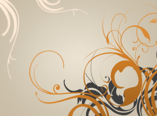 Elegant blooming animated swirls and flowers