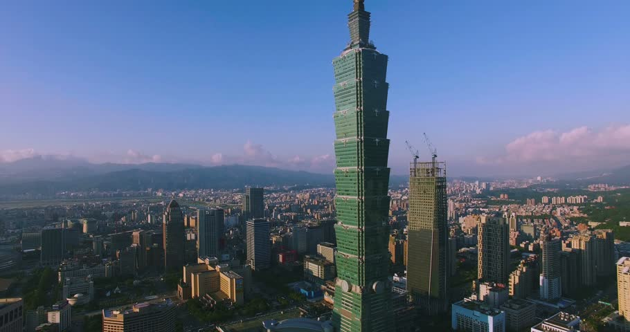 Aerial view of Financial district in City Taipei at Sunset, Taiwan