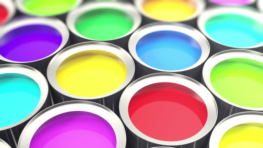 Cans paint, group of tin metal cans with color paint dye, loop-able. 3d animation | Shutterstock HD Video #19707865