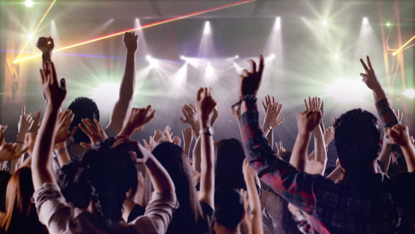 Footage of a crowd partying, dancing at a concert. Shot on RED EPIC Cinema Camera in slow motion. | Shutterstock HD Video #19708153