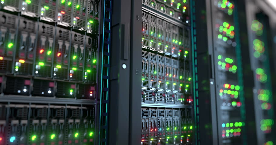 Servers close up.  Modern datacenter. Cloud computing. Loopable 8k 4k UHD Server in datacenter. Cloud computing data storage 3d rendering. 8k 4k closeup loopable animation #19714699