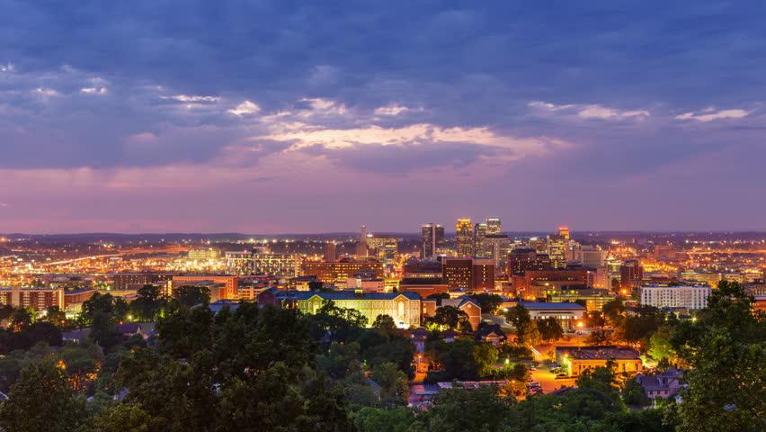 Birmingham, Alabama, USA downtown skyline time lapse.