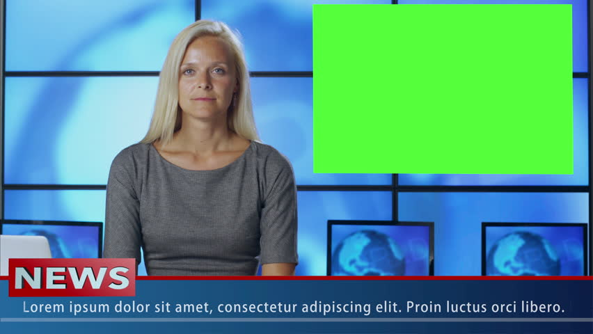Female News Presenter in Broadcasting Studio With Green Screen Display for Mockup usage. Shot on RED Cinema Camera in 4K (UHD).