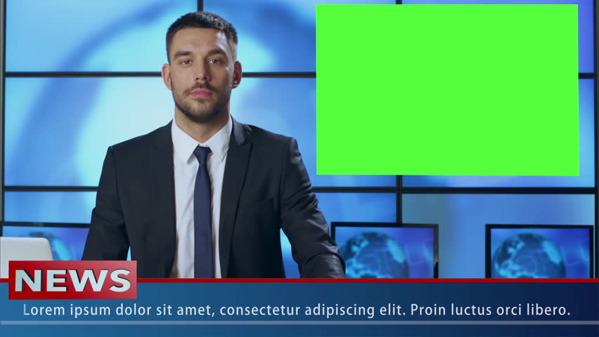 Male News Presenter in Broadcasting Studio With Green Screen Display for Mockup usage. Shot on RED Cinema Camera in 4K (UHD).