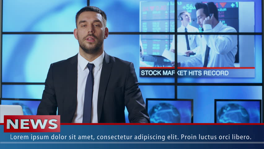 Male News Presenter Speaking About Stock Market News. Shot on RED Cinema Camera in 4K (UHD).