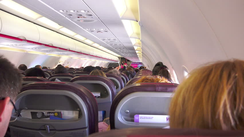 Wizzair Interior Flight Circa Stock Footage Video 100 Royalty Free 19730602 Shutterstock
