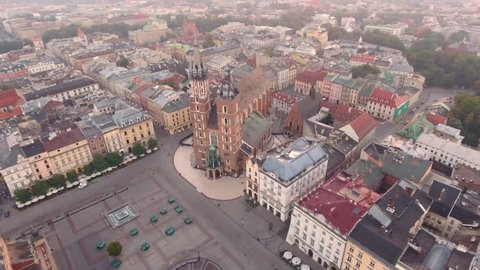 Cityscape at summer morning. Kracow aerial view. 4K 30fps ProRes (HQ)