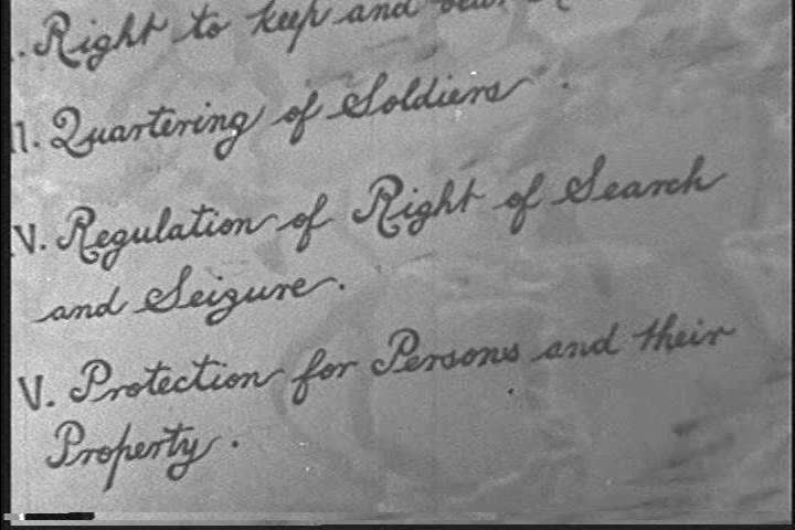 The American bill of rights is read and explained by a narrator in 1940. (1940s)
