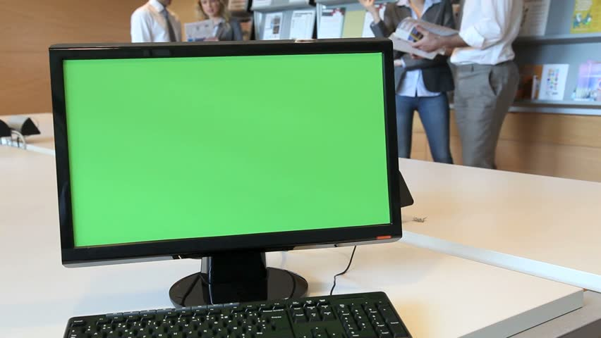 Green screen desktop set on room table