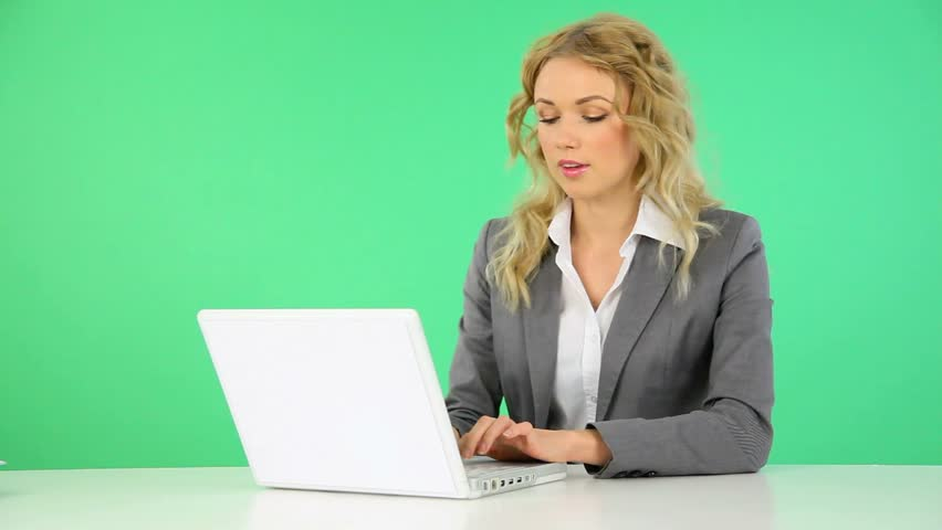 Businesswoman working on laptop computer