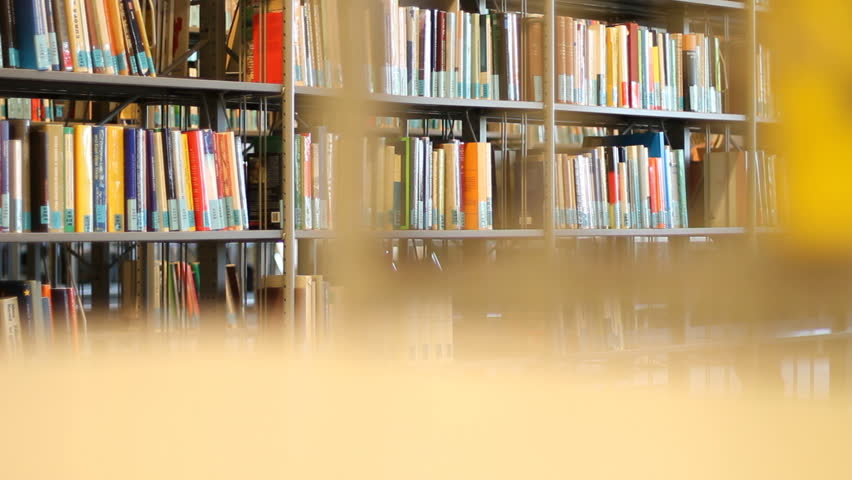 Bookshelves in university library