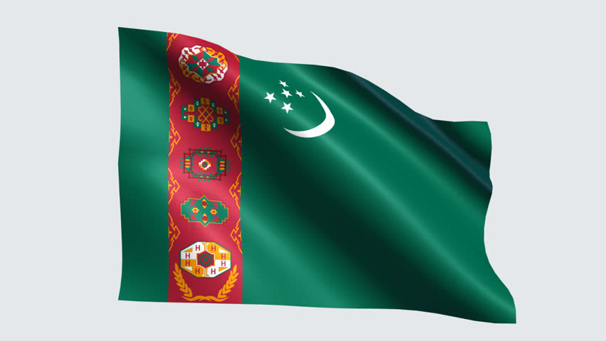 картинка туркменского флага плавными линиями затылок